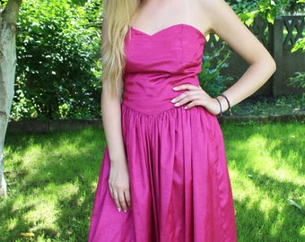 Unique vintage 80s pink party dress from the 80s