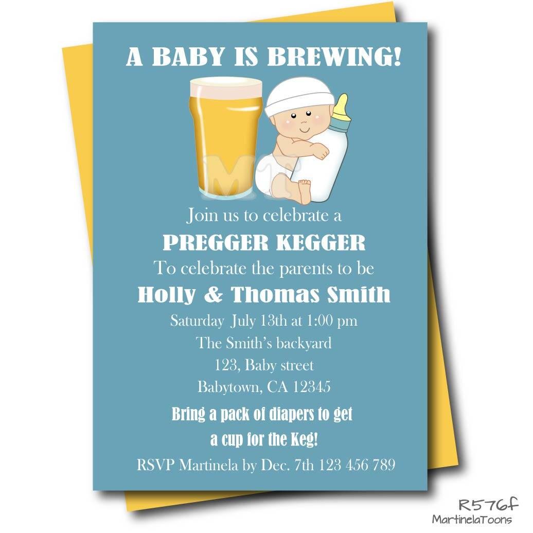 a baby is brewing coed baby shower invitation pregger kegger