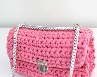 Pink Crochet shoulder bag, Pink Urban crossbody bag, Pink clutch bag, Pink quilted bag, Pink Flap  Bag, Pink Baguette Bag
