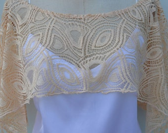 Hidden shoulder lace wedding ecru, flesh bridal poncho, cape, lace, ivory lace top, lace Bridal, wedding lace salmon top