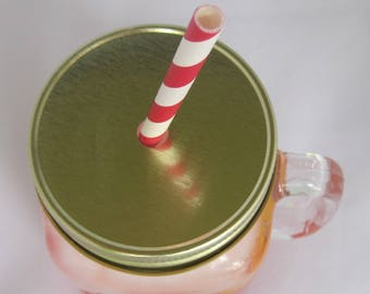 Mason Jar Lids, Mason Lids, Straw Hole Lids, Lids for Straws, Gold 6/pack