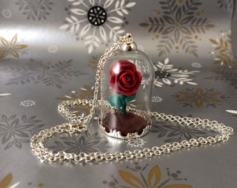 Beauty and the beast rose necklace, On Sale, Christmas, enchanted rose, beauty and the beast necklace, red rose, gift idea, cosplay, rose