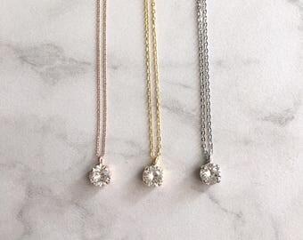 Solitaire necklace - bridesmaid necklace - simple crystal necklace - Swarovski crystal - wedding necklace - bridal pendant - Ava necklace