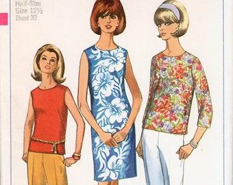 "Straight Dress Pattern Cigarette pants 1960s Shorts SIMPLICITY 6554 bust 33"" Summer Dress Retro Dress Vintage Shorts Skinny Pants Pattern"