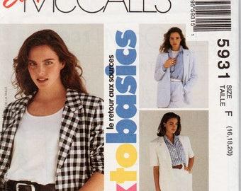 "Womens Blazer Pattern Short Sleeve Jacket Pattern McCALLS 5931 UNCUT bust 38-42"" Unlined Blazer Ladies Blazer Ladies Jacket Misses Jacket"