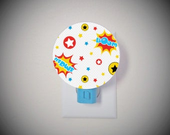 Superhero nursery night light - Superhero wall art - Boys room decor - Superhero room - Superhero decor - Kids nightlight - Superhero theme