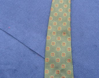1960's Vintage Green Patterned Tie