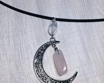 Rose Quartz Crescent Necklace