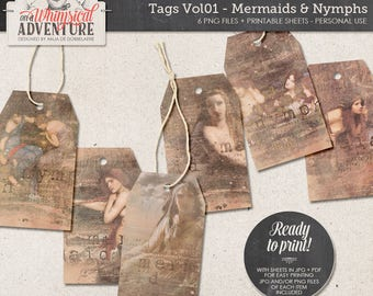 Mermaid Gift Tags, Printable Fantasy Labels, Fairytales, Shabby, Vintage Gift Tags, Digital Collage Sheet, Instant Download Paper Craft