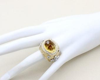Women Diamond Oval Citrine Precious Stone 14k Solid Gold  Huge Ring