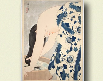 Washing The Hair 1953   Ito Shinsui Print Ukiyo E Poster Japanese Wall Art  Shinsui