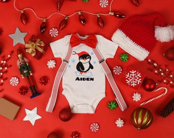 Boys Personalized Holiday Penguin Name Baby Bodysuit Top Toddler Tee Shirt Christmas Baby Shower Winter Season Original Boys Custom Santa