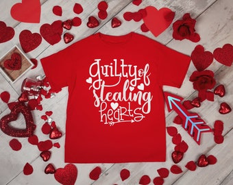 Gulity of Stealing Hearts Boys Valentines Red Rabit Skins 2T 3T 4T Shirt Toddler Kid T Shirt Top Tee T-Shirt Funny Cupid Little