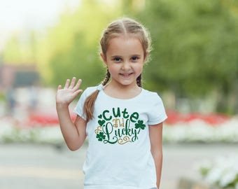 Cute & Lucky St. Patrick's Day Todder Shirt 2T 3T 4T White Tee Shirt Top Third Birthday Girls Gift Idea Irish Clover St. Patty's Green Gold