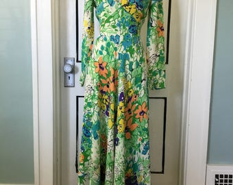 Colorful floral Leslie Fay 1960s gown, maxi dress