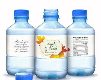 Wedding Water Bottle Labels - 30 Wedding Water Labels - Custom Water Bottle Labels - Fall Wedding Favors - 30 Waterproof Bottle Labels