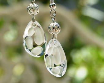 Clear Swarovski Crystal Pearl Earrings