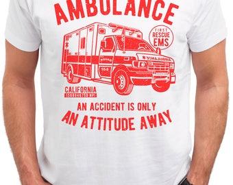 Emergency Ride. Ambulance. Men's white cotton t-shirt