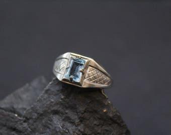 Silver Art Deco Blue Topaz Ring, Art Deco Silver Jewelry, Art Deco Ring, Blue Topaz Ring, Silver Topaz Ring