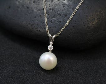 Sterling Silver Pearl and CZ Necklace, Sterling Pearl Jewelry, Modern Sterling Silver Pearl Pendant with CZ Accents, Modern Pearl Pendant