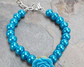 Blue Pearl Bracelet, Pearl Bracelet, Flowergirl Bracelet, Blue Jewelry, Pearl Jewelry, Girls Bracelet, Australian Made, Bridal Bracelet