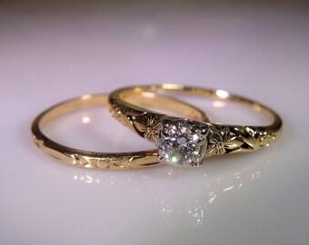 Art nouveau engagement ring | Etsy