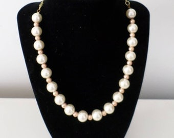 Cream and gold bead necklace