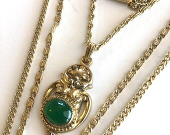 Vintage Art Nouveau Green Glass Cabochon Three Strand Necklace