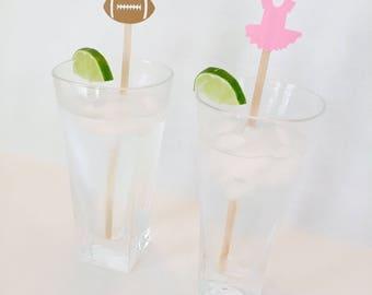 16 Touchdowns or Tutus Gender Reveal Swizzle Sticks - Stir Sticks - Baby Shower - Boy - Girl - Pink - Blue - Drink Stirrers - Party Decor