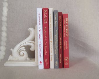 Christmas Titles Decorative Books Set, Stack of Books, Wedding Centerpiece, Home Staging, Farmhouse Books, Book Bundle