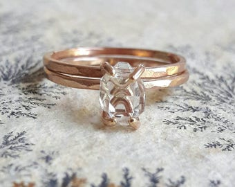 Rose Gold Herkimer Diamond Wedding Set - Bridal Set - Rose Gold Fill Wedding Rings - Raw Crystal Bridal Set - Rough Stone Wedding Ring