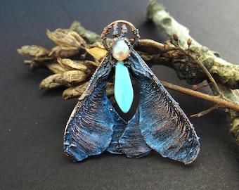copper maple moth magic blue pendant with glass drop