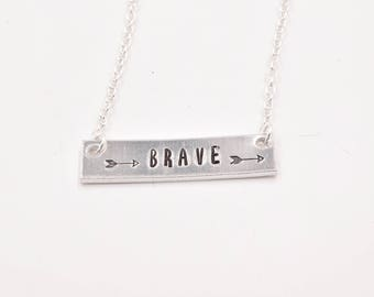 Brave Silver Bar Necklace . Hand Stamped Silver Necklace . Inspiration Necklace . Small Dainty Necklace. Gift for her. Gift for Daughter