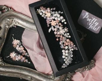 Bridal Jewellery set, bradal Hair Comb, pink, Wedding Comb, Wedding Hair Accessory, Hair Accessories, Hair Accessories, barrette, comb