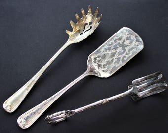 Gorham Heritage Silver Plated Pasta Server and Pie Server, Taunton Silver plated Tongs