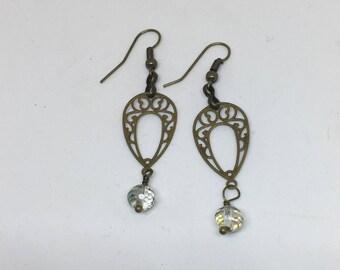 Antique Brass Crystal Filagree Drop Earrings