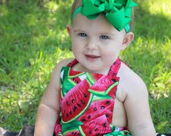 Baby Girls WatermelonRomper- Toddler Girls Watermelon Romper- Watermelon Ruffle Bottom Romper- Bubble Suit - 3m, 6m, 12m, 18m, 2t, 3t, 4t