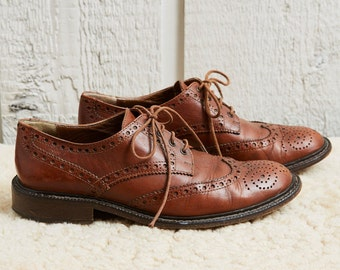 SALE! 80s Cuoieria Brown Leather Oxford Wingtip Dress Shoes •  7.5