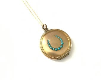 Antique Vintage Victorian Persian Turquoise Gold Filled Horseshoe Locket