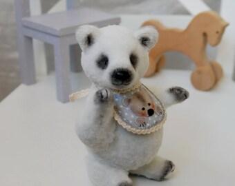 "Artist teddy bear, Lucile, 6.29"",16 cm, miniature bear, White, OOAK, collectible, little bear, stuffed toy, small handmade bear, mohair bear"