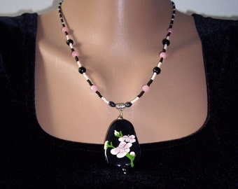 Pink necklace Pink flowers Wife gift Agate necklace Womens gift Painted stones Black agate pendant Sakura necklace Birthday gift her