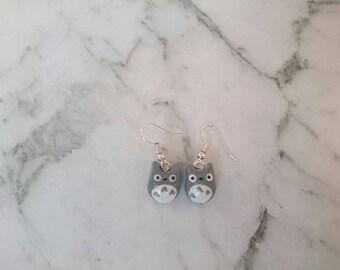 Totoro earrings. Studio Ghibli earrings. My neighbour totoro. Stainless steel hook dangle earrings