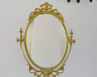 MIRROR table, solid brass psyche, miror