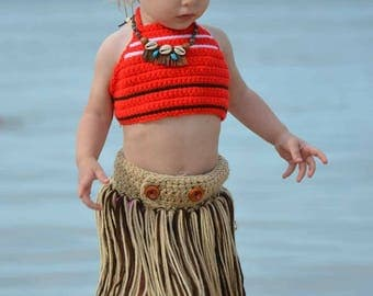 Moana Costume Set ~ Headband ~ Crown ~ Barefoot Sandals ~ Necklace ~ Top ~ Skirt ~ Beach ~ Disney ~ Dress-up ~ Photo Prop ~ Pool ~ Hula