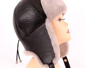 Women's hat ear flaps of sheared sheepskin pink