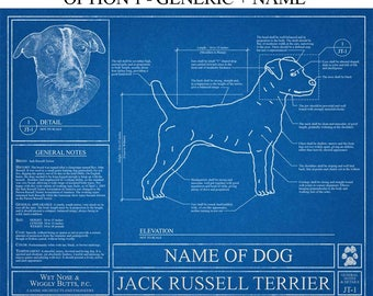 Personalized Jack Russell Terrier Blueprint / Jack Russell Terrier Art / Jack Russell Terrier Wall Art / Jack Russell Terrier Gift / Print