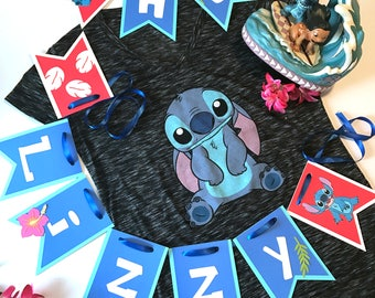 Stitch Inspired happy birthday banner || Lilo and Stitch party || Stitch birthday party ||