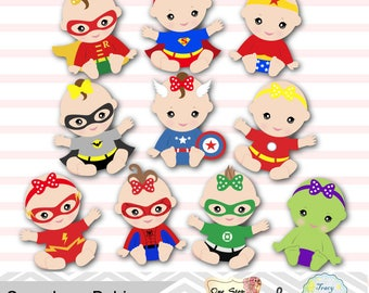 20 Baby Girl Superhero Digital Clipart, Girls Superhero Baby Clip Art, Baby Party, Super Hero Baby Girl Clipart, Superhero Baby Shower 0230