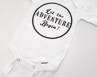 Let The Adventure Begin Baby Onesie, Newborn Outfit, First Child, New Baby Onesie, Going Home Outfit, Baby Shower Gift, Cute Baby Clothes