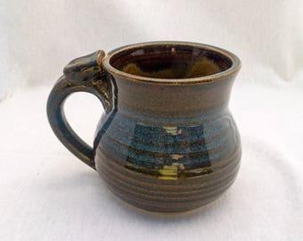 Extra-large stoneware pottery mug with thumb rest- brown and blue glaze (XL- 16 oz), ceramic mug, blue pottery mug, set of mugs, rounded mug